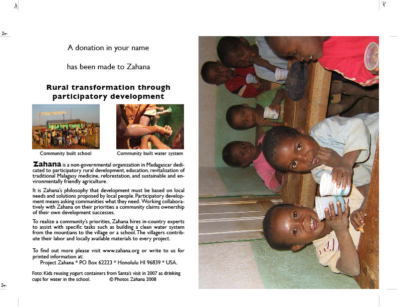 Zahana Gift card with childen drinking water in the classroom in Madagascar