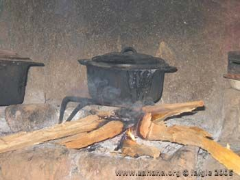 cookstove with rice cooking