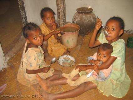 Children lucky enough to get rice for breakfast
