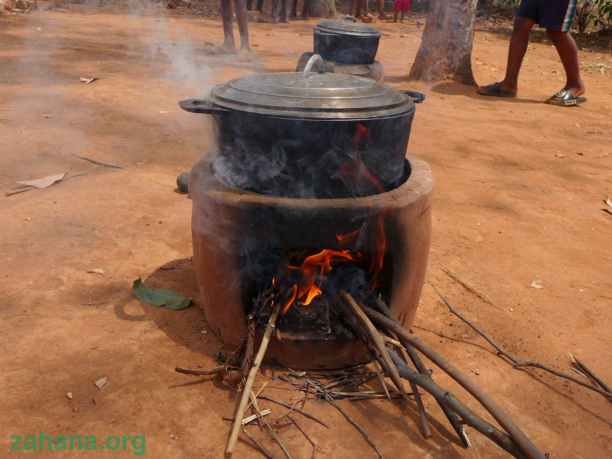 Improved cookstove in Madagascar in use in the village