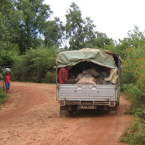 truck with rice in the madagascar countryside