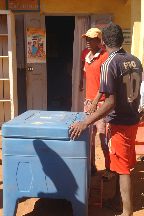 Delivering a Refirgerator at Zahana's Health Care Center in Madagascar