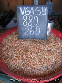 Rice in the market sold by the metal cup