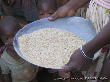Sifting rice in a village in madagascar