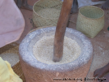 Rice in a stone mortar close-up in Madagascar - zahana photo