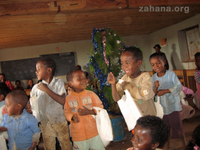 Santa comes to the village in madagascar