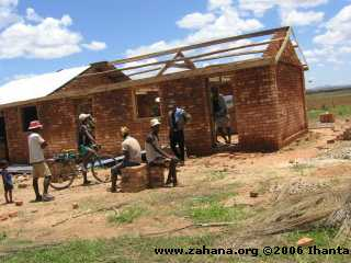 adding the roof to the school
