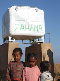 Water tank in the village in Madagascar. Zahana.org