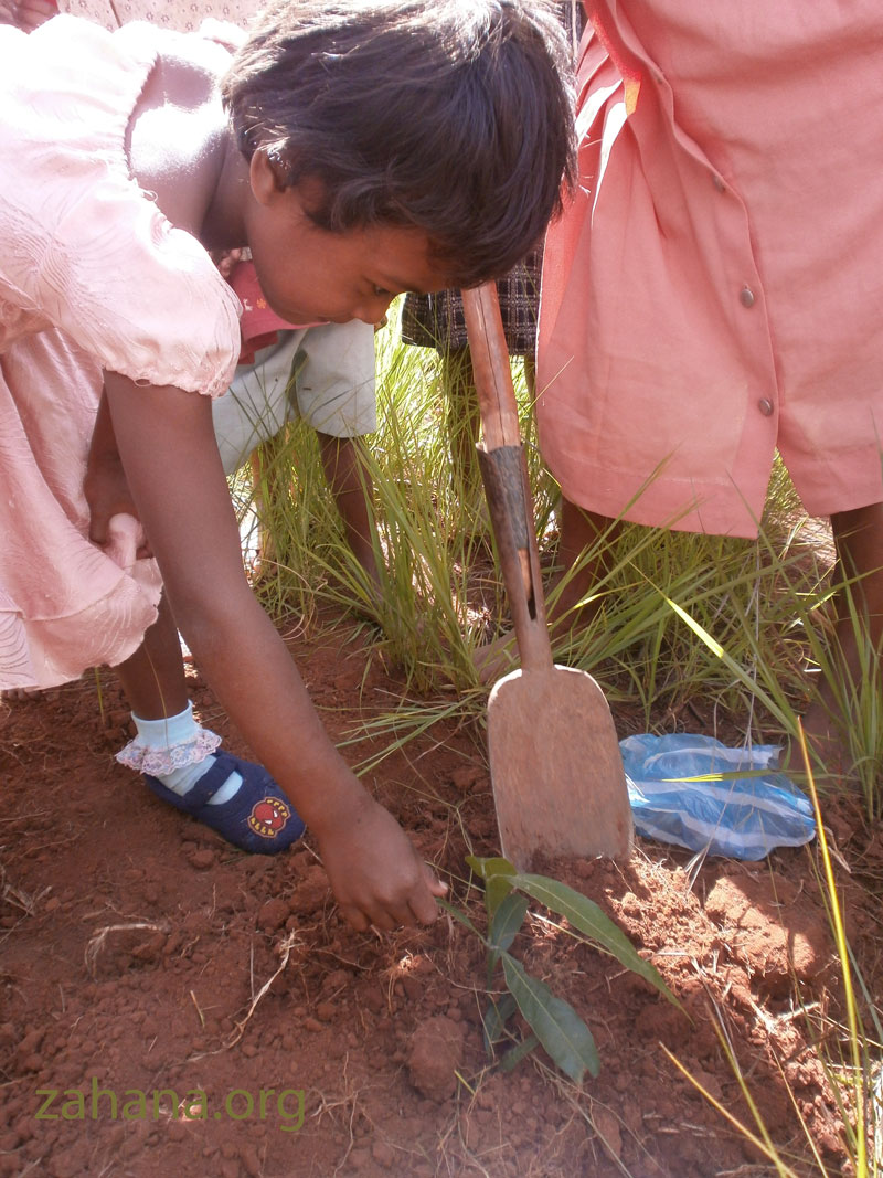 girl planting a tree in madagascar zahana.org